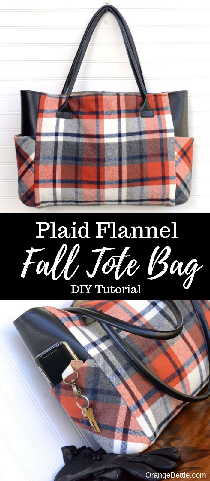 Flannel Sewing Projects featured by top US sewing blog, Flamingo Toes: flannel tote bag