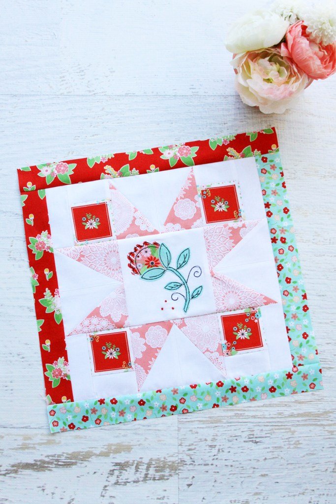 Happy Little Things Quilt Block of the Month featured by top US quilting blog, Flamingo Toes. | Happy Little Things Quilt Finishing by popular Tennessee quilting blog, Flamingo Toes: image of a Happy Little Things Quilt block 3.