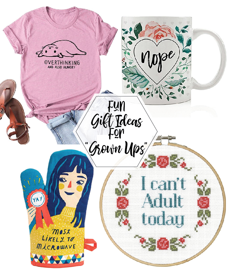 """Gift Ideas for """"Grown Ups""""! by popular Tennessee life and style blog, Flamingo Toes: collage image of a graphic t-shirt, mug, sandals, cross stitch, and oven mitt."""