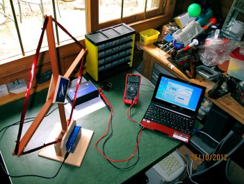 VLF equipment set up in Clive's shed