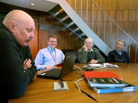 The Radio Astronomy Group gather in the Endeavour Room