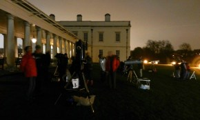 Telescopes in front of the colonnade