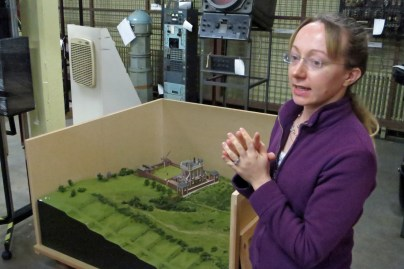Louise and the model of Flamsteed House