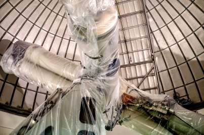 The Radcliffe Telescope covered in plastic for renovation