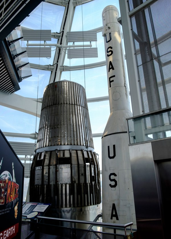 The top level of the National Space Centre, with Blue Streak and Thor-Able