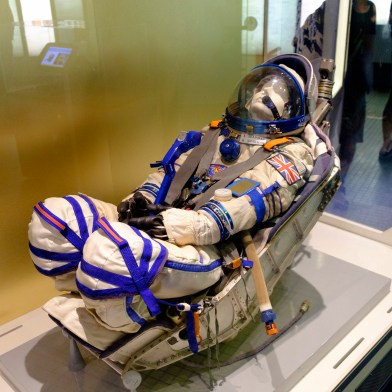 Helen Sharman's launch couch and Sokol training suit