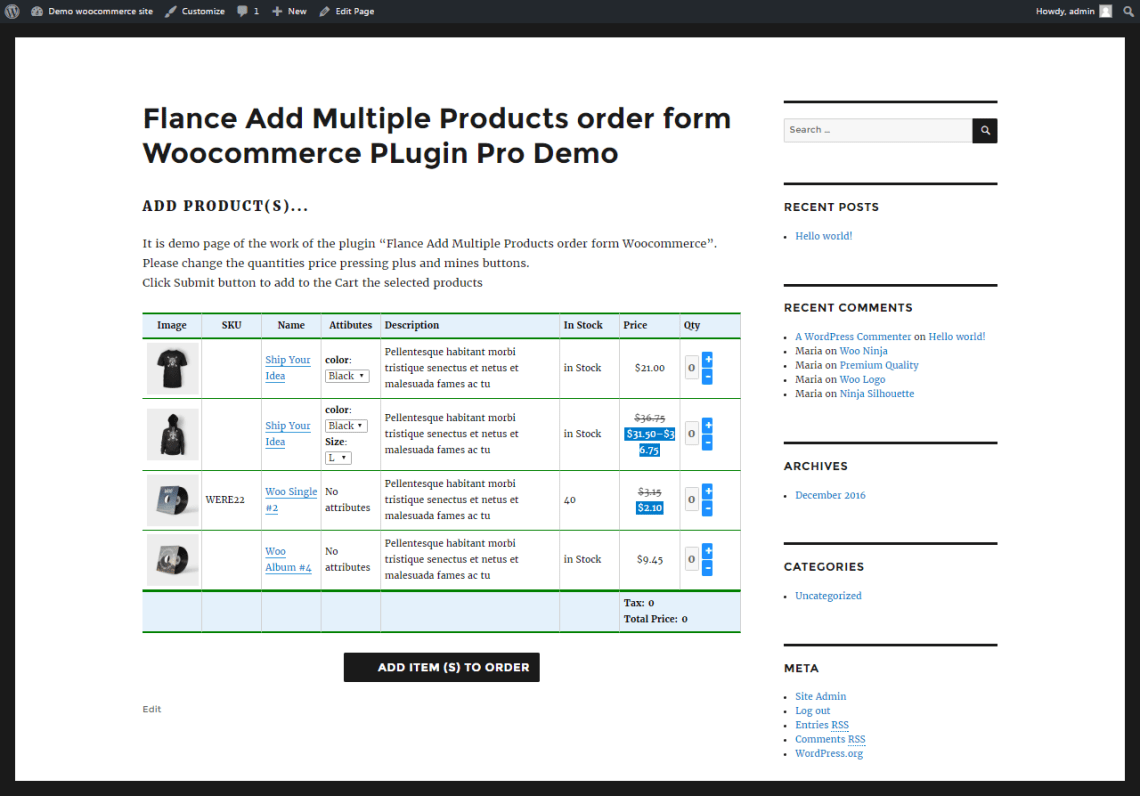 Flance Add Multiple Products order form PRO Woocommerce PLugin 1