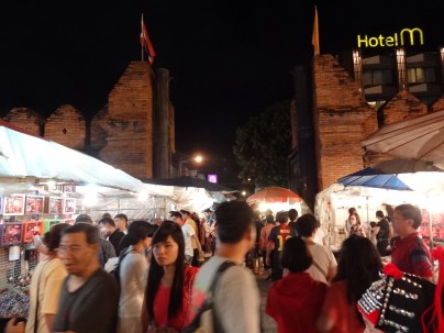 Thae Pae Gate - The beginning of the Sunday night walking street market