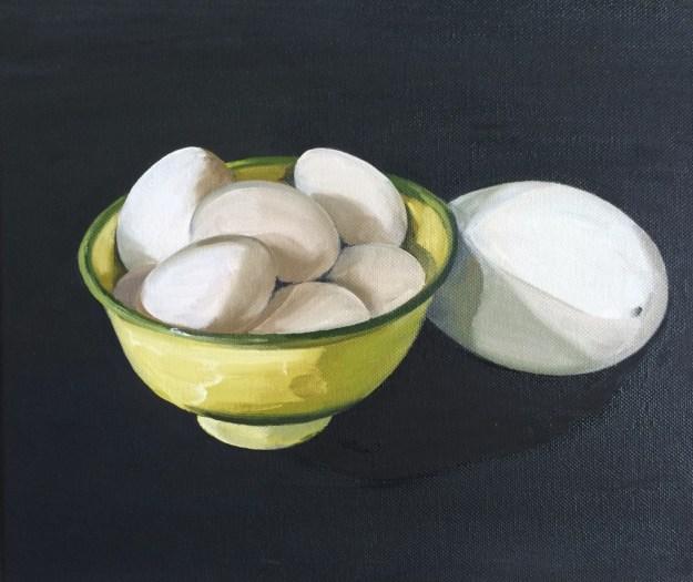 'Enamel Bowl, Bantam Eggs & A Blown Goose Egg'