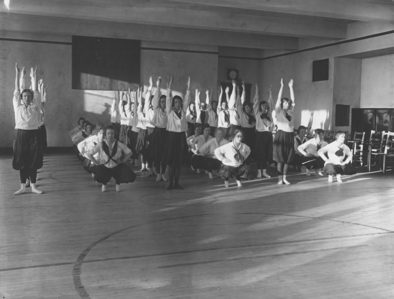 1920s, gymnastics movement exercise. KSU Libraries, Special Collections and Archives.