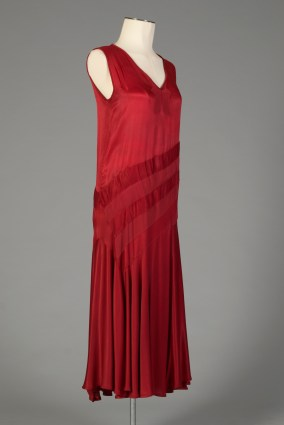 Probably American, ca. 1929. Dark red charmeuse with drop waist.