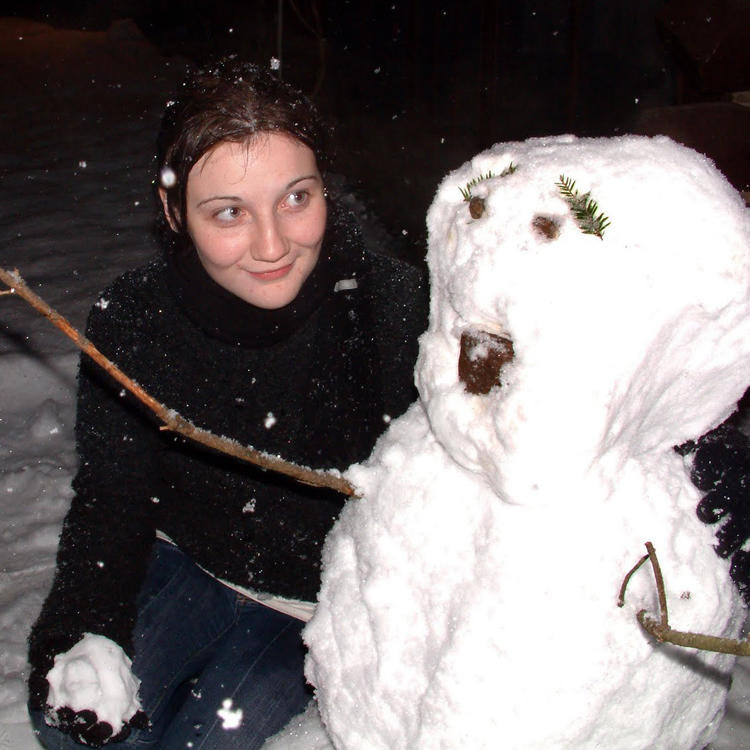 Katy with snowman