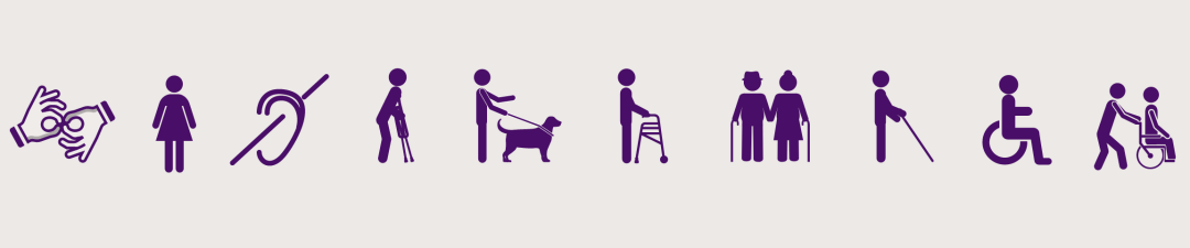 Icons of people with a range of disabilities.
