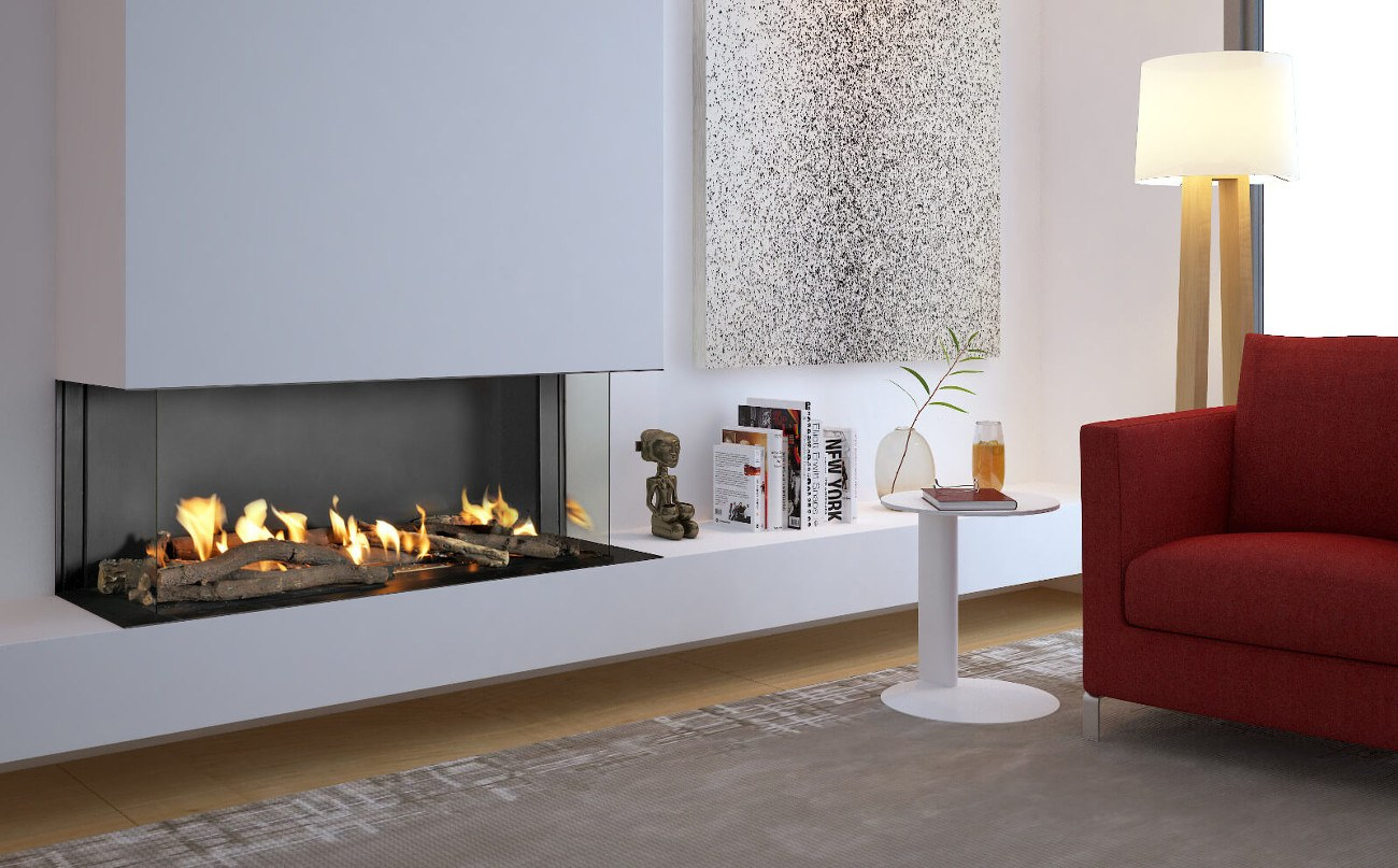 Double Corner Modern Designed Fireplaces