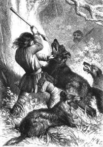Anglo-Saxon wolf hunt with wolfhounds