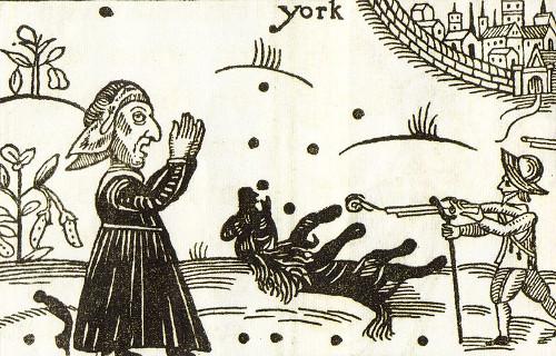 Woodcut of Boye's death