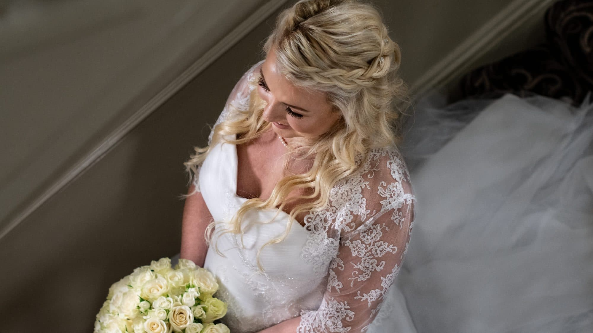 About Flashback Photography - Bride shot from above with bouquet
