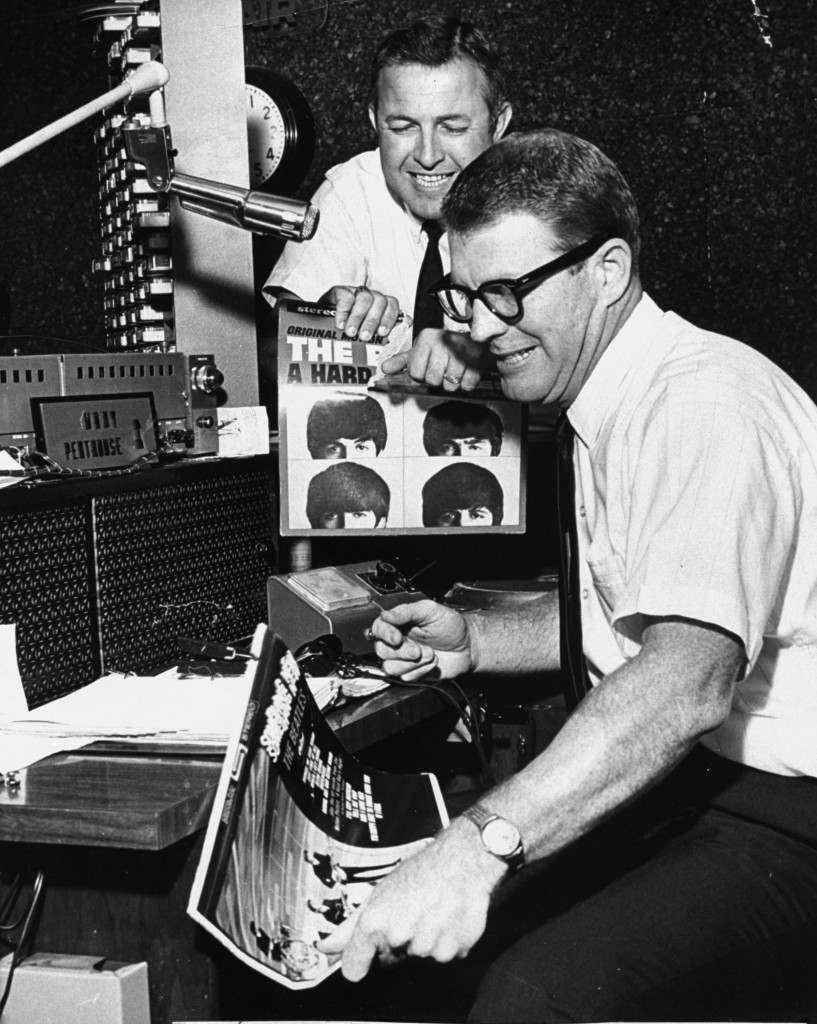 "Birmingham disc jockeys Tommy Charles, left, and Doug Layton of Radio Station WAQY rip and break materials representing the British singing group the ""Beatles"" on August 8, 1966. The broadcasters started a ""Ban the Beatles"" campaign after Beatle John Lennon was quoted as saying his group is more popular than Jesus. Charles took exception to the statement as ""absurd and sacrilegious."" (AP Photo)"