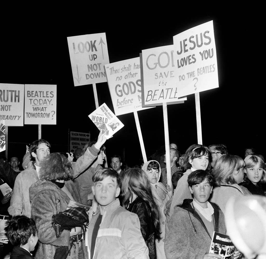 Young churchfolk from nearby Sunnyvale on the San Francisco Peninsula protest against the Beatles and John Lennon's remark that the Beatles are more popular than Jesus.