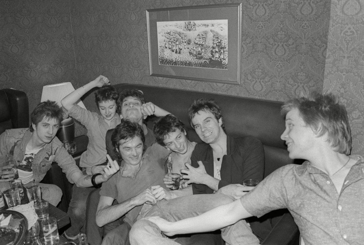 Anarchy Tour, L-R. Keith Paul, Jo Faul, Johnny Thunders, Ray Stevenson, Nils Stevenson, Walter Lure, Paul Cook, Leeds Dec 1976