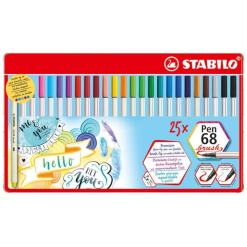 Stabilo Pen 68 Brush Felt Pens Metal Case 25 pieces