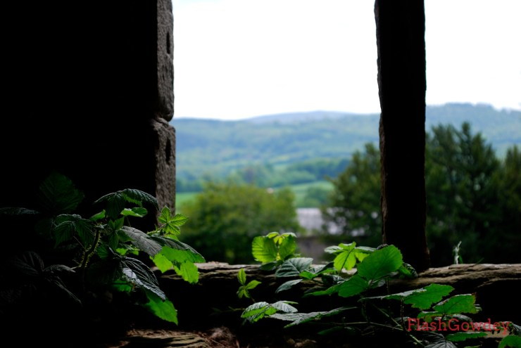 View of the Welsh hill from the Hay Castle.