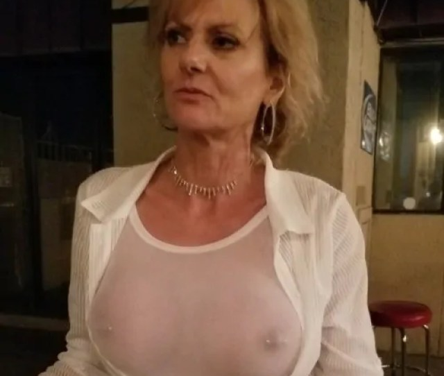 Granny With Perfect Pierced Breasts Public Flashing Mature Boobs Flash