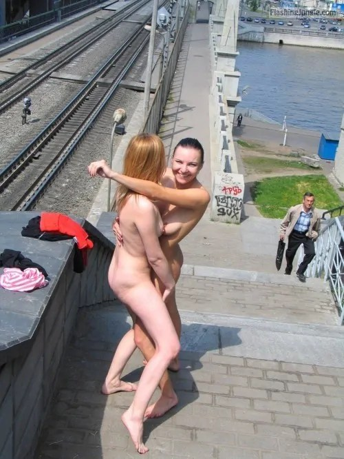 Girls Naked Outdoors Hugging On Rail Bridge