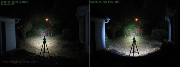 Elzetta Charlie and SureFire P3X Beamshot comparison