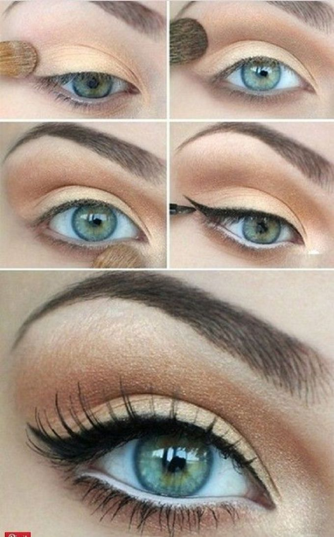 what color eye makeup for blue eyes and brown hair - cat eye