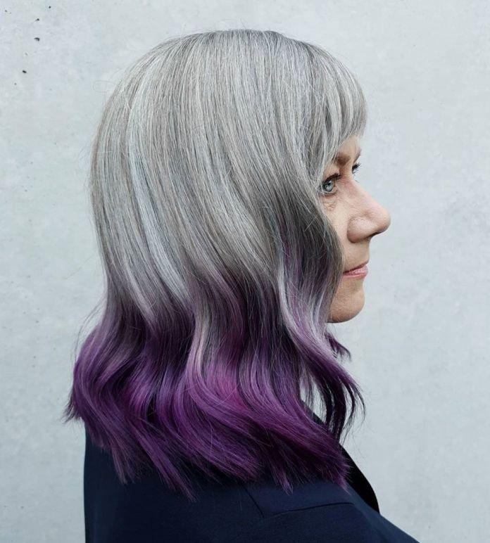 Ombre inversée gris à violet