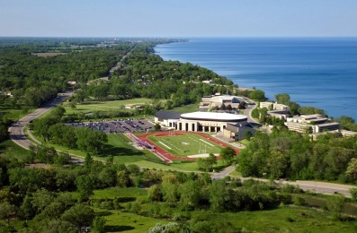 The 100-Acre campus of Carthage College located along the shore of Lake Michigan in Kenosha, Wi, is seen from the air, Saturday, June 1, 2002. (© 2002, Brett Flashnick/ flashnick | visuals)