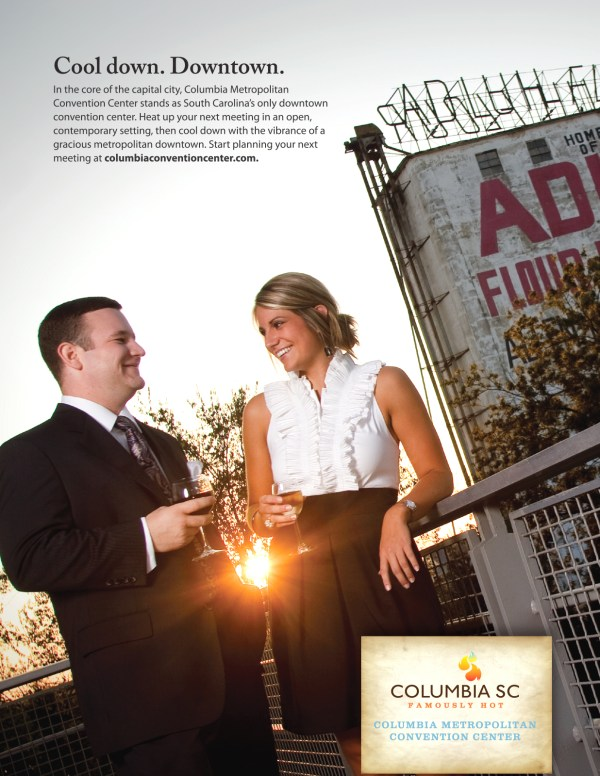 A trade magazine advertisement to promote meeting and event planning in the Columbia Metropolitan area.