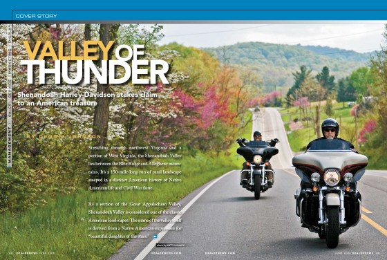 A spring ride feature in the Shenandoah Valley, Virginia with Shenandoah Harley-Davidson for Dealernews Magazine.