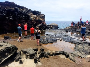 People waiting on the blow hole at Nakalele Point