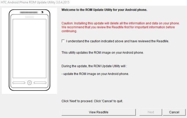 Flashing HTC ROM Upgrade Utility (RUU) flash file