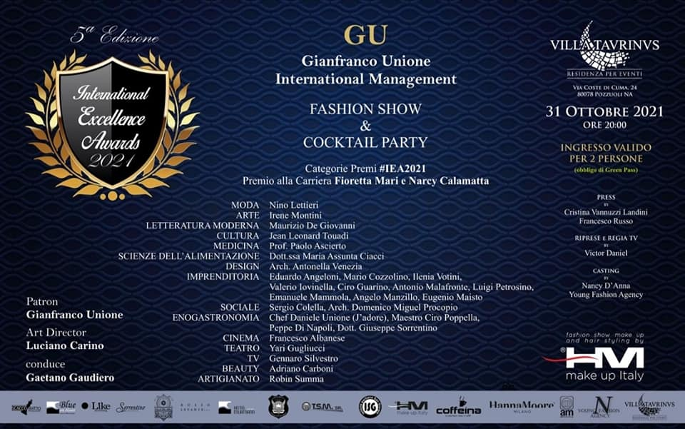 A Napoli la 5a edizione del Premio International Excellence Awards