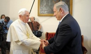 Prime Minister Binyamin Netanyahu meeting with Pope Benedict XVI in Nazareth, May 14, 2009. Photo: REUTERS/Osservatore Roman