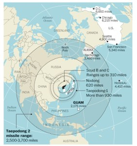Distances that North Korean missiles would have to travel to strike U.S. targets (NYT graphic)