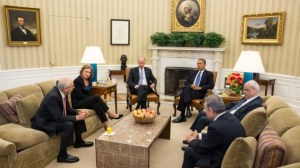President Barack Obama and Vice President Joe Biden, along with Palestinian Chief Negotiator Saeb Erekat and Mohammed Shtayyeh (right) and Israeli Justice Minister Tzipi Livni and Yitzhak Molho (left) at the formal resumption of direct Israeli-Palestinian negotiations, in the Oval Office, July 30, 2013 (photo credit: Official White House Photo, Chuck Kennedy/Times of Israel)