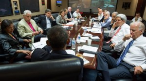 President Obama meeting with the National Security Council to discuss Syria in the Situation Room.