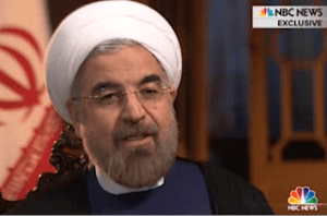 Iranian President Hassan Rouhani being interviewed by Ann Curry of NBC News.