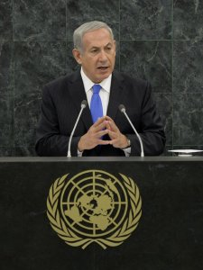 Israeli PM Netanyahu addressing the UN General Assembly on Tuesday, October 1st.