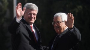 Canadian Prime Minister Stephen Harper with Palestinian Authority President Mahmoud Abbas during the welcome ceremony in the West Bank city of Ramallah, January 20, 2014 (photo credit: Issam Rimawi/Flash90/Times of Israel)