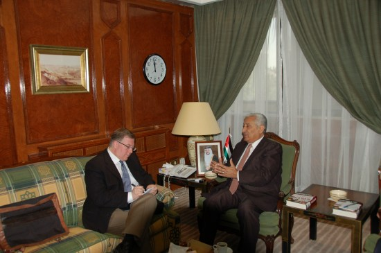 Meeting with Jordan's Prime Minister Abdullah Ensour.