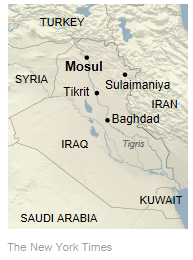 Al-Qaeda breakaway group -- ISIS -- captures key Iraqi city of Mosul. (graphic: NYT