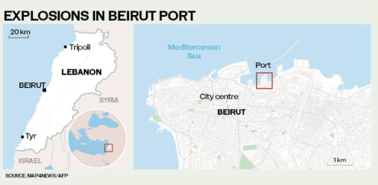 Beirut-explosions-map