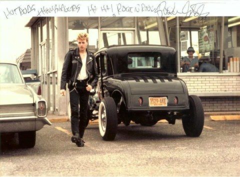 "The ultimate in Rockabilly style…Brian with his first hot rod ~ a '31 Model A Ford ~ in front of All-American Hamburgers (1983) ~ Says Brian, ""I remember drag racing on Old Country Road before the cops shut us down!"" The Ford, built by Mike Harmon at Massapequa Auto Body, was used on the cover of Stray Cats' Rant n' Rave."