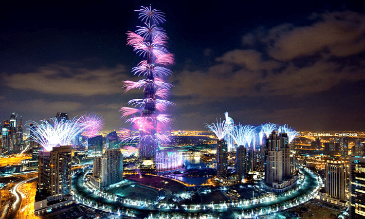 Downtown Dubai New Year fireworks