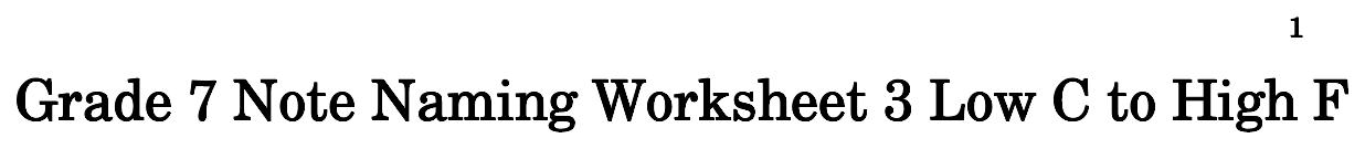 Grade 7 Note Naming Worksheet 3 Low C To High F